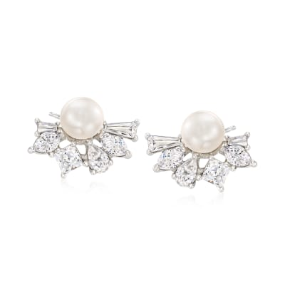 6-6.5mm Cultured Pearl and 2.10 ct. t.w. CZ Earrings in Sterling Silver