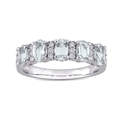 1.20 ct. t.w. Aquamarine and .16 ct. t.w. Diamond Ring in 14kt White Gold