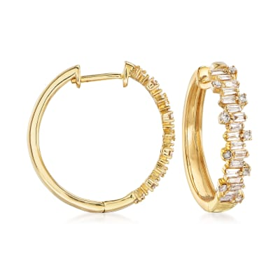 .57 ct. t.w. Diamond Hoop Earrings in 14kt Yellow Gold