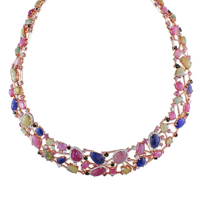 94.50 ct. t.w. Multi-Gemstone Necklace with 1.05 ct. t.w. Diamonds in 14kt Rose Gold