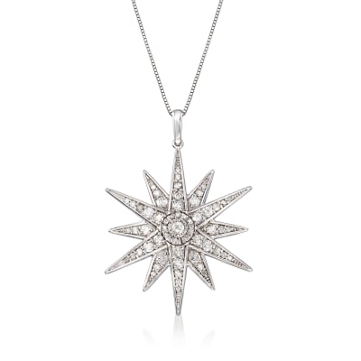 1.20 ct. t.w. Diamond Starburst Pendant Necklace in Sterling Silver