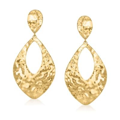 Italian 14kt Yellow Gold Hammered Teardrop Earrings