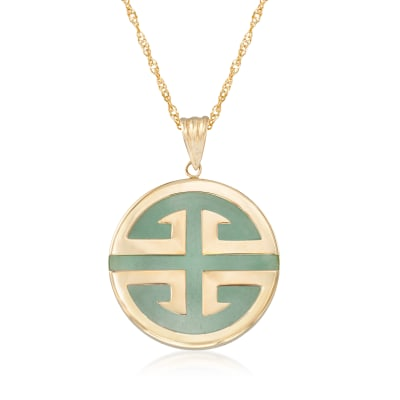 "Jade ""Longevity"" Chinese Symbol Circle Pendant Necklace in 14kt Gold"