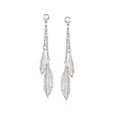 Italian Sterling Silver Double-Feather Drop Earrings