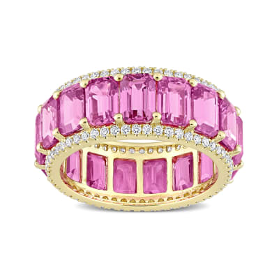9.40 ct. t.w. Pink Sapphire Eternity Band with .57 ct. t.w. Diamonds in 14kt Yellow Gold