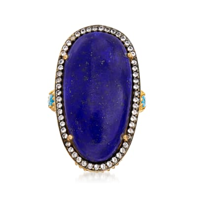 Lapis and .80 ct. t.w. Blue and White Topaz Cocktail Ring in 18kt Gold Over Sterling