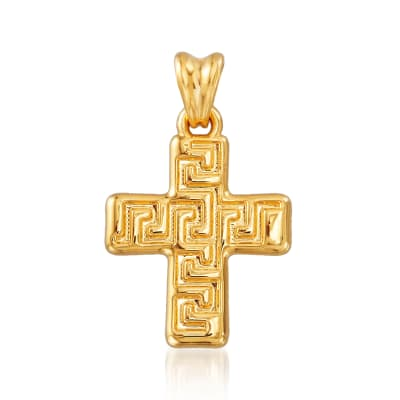 Italian Andiamo 14kt Yellow Gold Over Resin Greek Key Cross Pendant