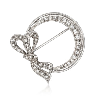 C. 1970 Vintage 1.00 ct. t.w. Diamond Open-Circle Bow Pin in 14kt White Gold