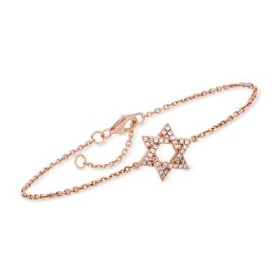 C. 1990 Vintage .18 ct. t.w. Diamond Star of David Bracelet in 18kt Rose Gold