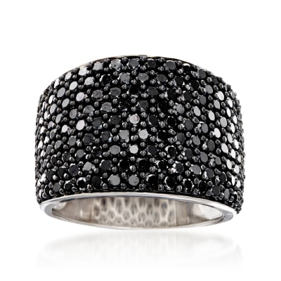 3.70 ct. t.w. Pave Black Spinel Wide Ring in Sterling Silver