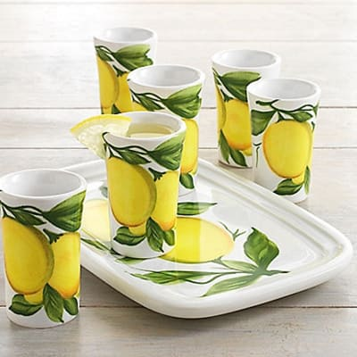 Abbiamo Tutto Limoncello Ceramic Set: Small Tray and Six Glasses from Italy