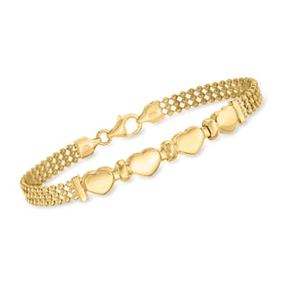 Italian 18kt Gold Over Sterling Heart Beaded Bracelet