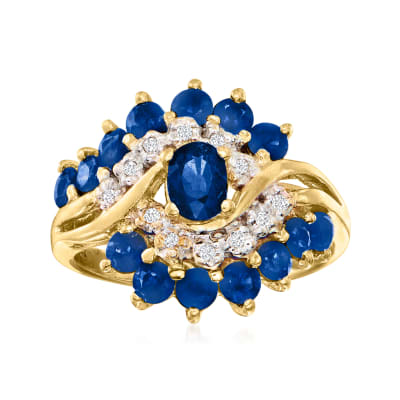 C. 1980 Vintage 2.55 ct. t.w. Sapphire Ring with Diamond Accents in 14kt Yellow Gold