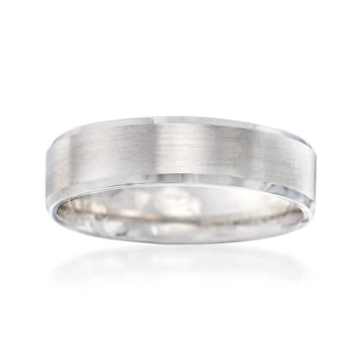 Men's 6mm 14kt White Gold Brushed and Polished Wedding Ring