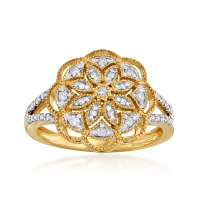 .25 ct. t.w. Diamond Openwork Floral Ring in 18kt Gold Over Sterling