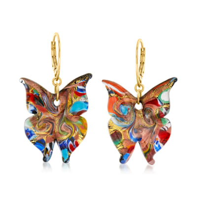 Italian Mosaic Murano Glass Butterfly Drop Earrings with 18kt Gold Over Sterling