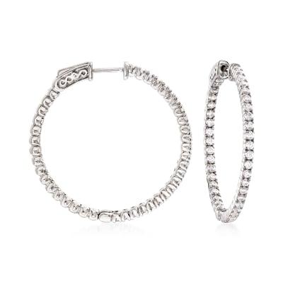 2.00 ct. t.w. CZ Hoop Earrings in Sterling Silver