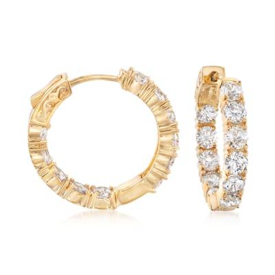 5.00 ct. t.w. CZ Inside-Outside Hoop Earrings in 14kt Gold Over Sterling