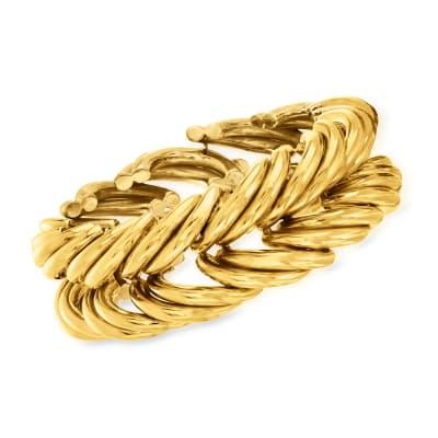 C. 1980 Vintage 14kt Yellow Gold Multi-Curve Link Bracelet