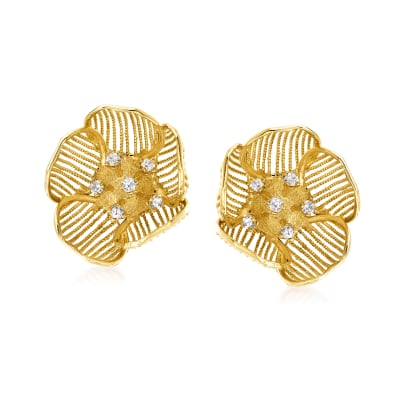 C. 1960 Vintage .75 ct. t.w. Diamond Flower Clip-On Earrings in 14kt Yellow Gold