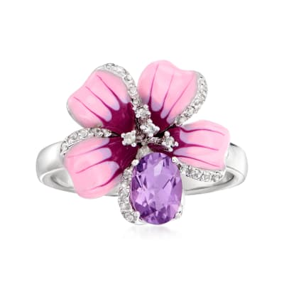 .70 Carat Brazilian Amethyst and .10 ct. t.w. White Topaz Flower Ring with Multicolored Enamel in Sterling Silver