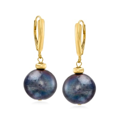 12-13mm Black Cultured Pearl Drop Earrings in 14kt Yellow Gold