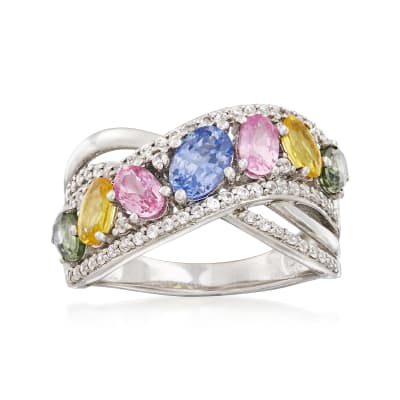 2.40 ct. t.w. Multicolored Sapphire and 2.00 ct. t.w. White Zircon Sash Ring in Sterling Silver
