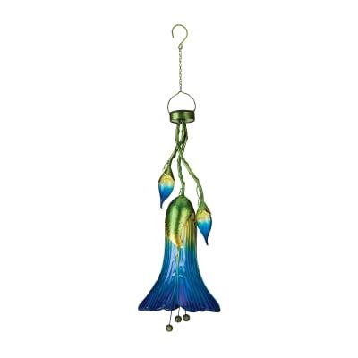 """Blue """"Trumpet Flower"""" Decorative Solar Garden Lantern"""