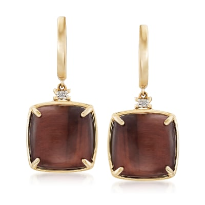 Tigereye Drop Earrings with Diamond Accents in 14kt Yellow Gold