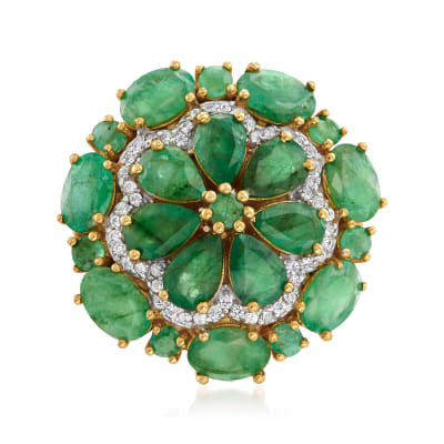 6.10 ct. t.w. Emerald and .20 ct. t.w. White Zircon Floral Ring in 18kt Gold Over Sterling
