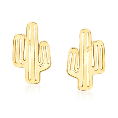 14kt Yellow Gold Cactus Stud Earrings