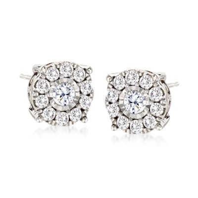 1.00 ct. t.w. Diamond Cluster Stud Earrings in 14kt White Gold