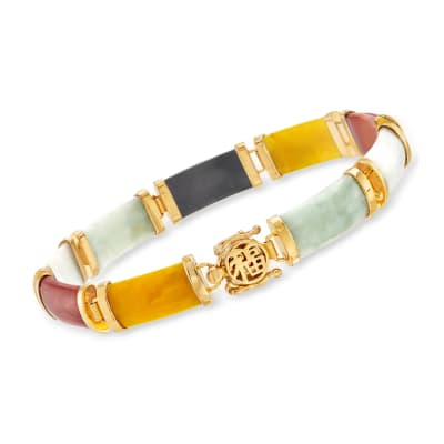 "Multicolored Jade ""Good Fortune"" Bracelet in 18kt Gold Over Sterling"