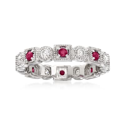 .25 ct. t.w. Diamond and .20 ct. t.w. Ruby Eternity Band in Sterling Silver