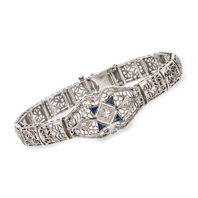C. 1950 Vintage .15 ct. t.w. Diamond Filigree Bracelet with Synthetic Sapphire Accents in 14kt White Gold