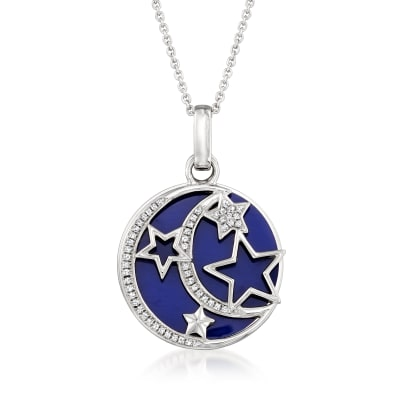 .15 ct. t.w. Diamond and Blue Enamel Celestial Pendant Necklace in Sterling Silver