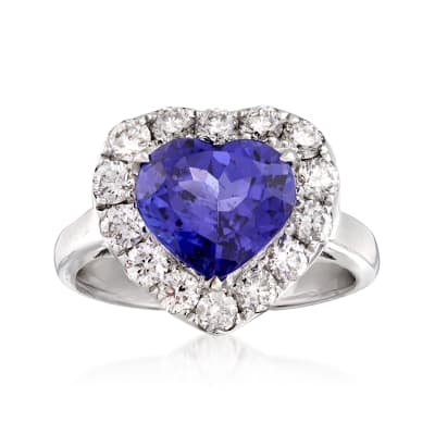 3.60 Carat Tanzanite and 1.00 ct. t.w. Diamond Heart Ring in 18kt White Gold