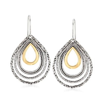 Sterling Silver Openwork Teardrop Earrings with 14kt Yellow Gold