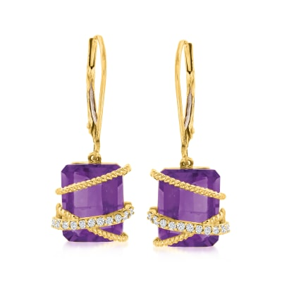 6.25 ct. t.w. Amethyst and Diamond Drop Earrings in 14kt Yellow Gold