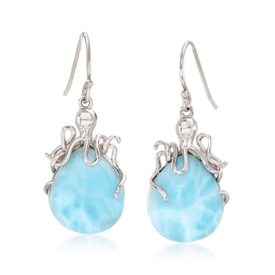 Larimar Octopus Drop Earrings in Sterling Silver