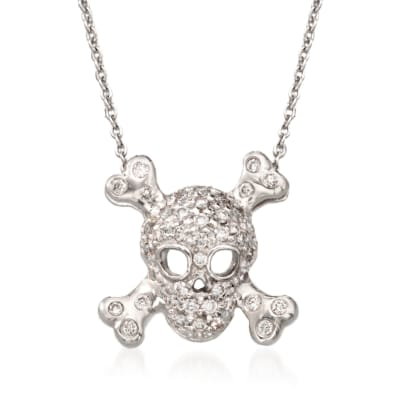 "Roberto Coin ""Tiny Treasures"" .20 ct. t.w. Pave Diamond Skull and Crossbone Pendant Necklace in 18kt White Gold"