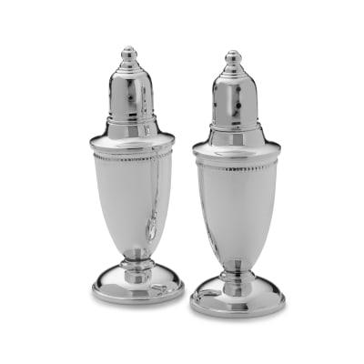 Empire Sterling Silver Beaded Salt and Pepper Shaker Set