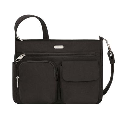 Anti-Theft Essential Patch Pocket Black Crossbody Bag