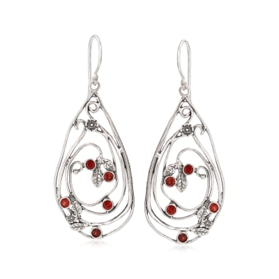 .10 ct. t.w. Garnet Open-Space Drop Earrings in Sterling Silver