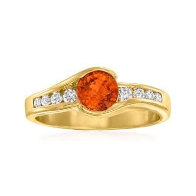 C. 1990 Vintage .85 Carat Orange Garnet and .20 ct. t.w. Diamond Ring in 14kt Yellow Gold