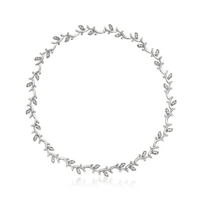 C. 1980 Vintage 2.25 ct. t.w. Diamond Leaf Vine Necklace in 18kt White Gold