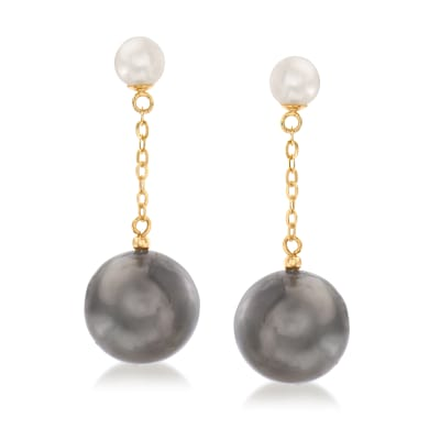 12-12.5mm Black Cultured Tahitian Pearl and 5.5-6mm Cultured Pearl Drop Earrings in 14kt Yellow Gold