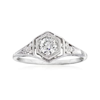 C. 2000 Vintage .35 Carat Diamond Ring in 14kt White Gold
