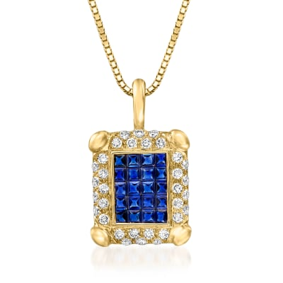 C. 1980 Vintage 2.20 ct. t.w. Sapphire and .75 ct. t.w. Diamond Rectangular Pendant Necklace in 18kt Yellow Gold