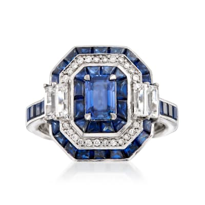 4.80 ct. t.w. Sapphire Ring with Diamond Accents in 14kt White Gold